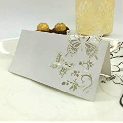 Taka Co Name Place Cards 50pcs Romantic White Carved Butterfly Table Mark Name Place Card for Wedding Birthday Banquet Decoration