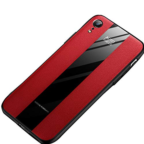 - iPhone Case for iphoneXR Plexiglass Elements Combined with Classic Leather iPhone XR Case (Red-A)