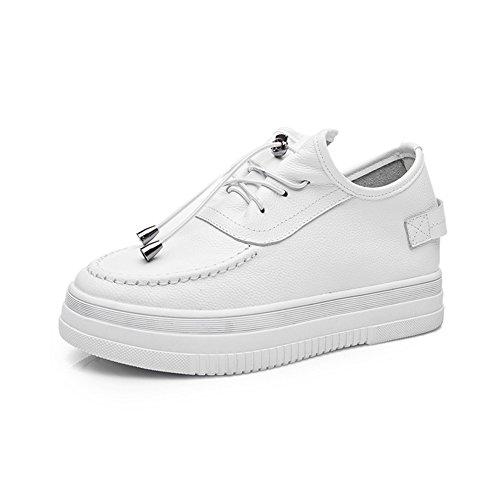Plataforma Mujer Blanco Cordones Gruesa Zapatos Suela JRenok Deportivos Cuero para Z6Ygtq