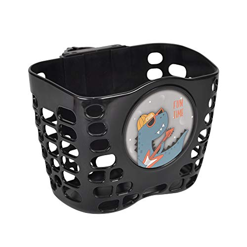 CHILDHOOD Scooter Basket Kids Bicycle Basket with Cool Dinosaur Pattern Handlebar Basket for Boy, Black