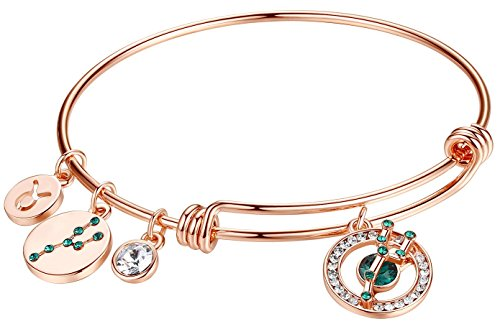 Leafael Superstar Taurus Zodiac Expandable Bangle Bracelet Made with Swarovski Crystals Horoscope Constellation April May Birthstone Emerald Green Jewelry, Rose Gold Plated, 7""