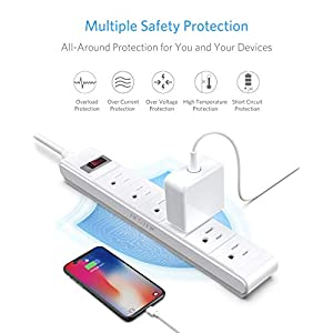 BESTEK 6-Outlet Surge Protector 15A 125V Commercial Power Strip with 6-Foot Long Power Cords and Right-Angled Power Plug, 200 Joules, FCC ETL Listed, White