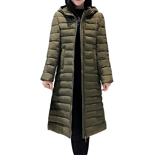 AOJIAN Women Jacket Long Sleeve Outwear Hooded Solid Slim Zipper Maxi Puffer Overcoat Coat