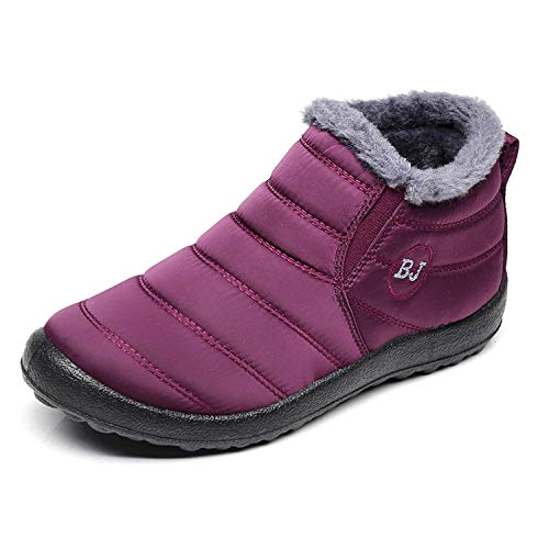 Waterproof Snow Sneakers Boots Fur Lined Ankle High-Top Outdoor Slip-on Booties Anti-Slip Winter Shoes for Womens Men Wine red 40 ()