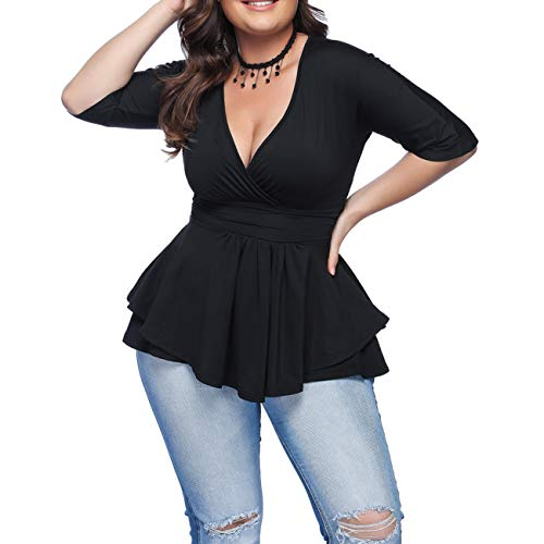 EverChic Women's V Neck Short Sleeve Wrap Front Side Shirring Blouse Promenade Top Black