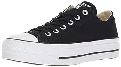 Converse Women's Lift Canvas Low Top Sneaker, Black/White/White, 5.5 M US