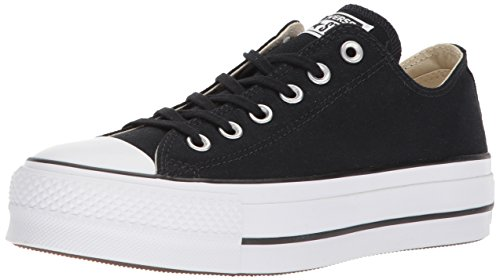 Converse Women's Lift Canvas Low Top Sneaker, Black White, 5 M US -