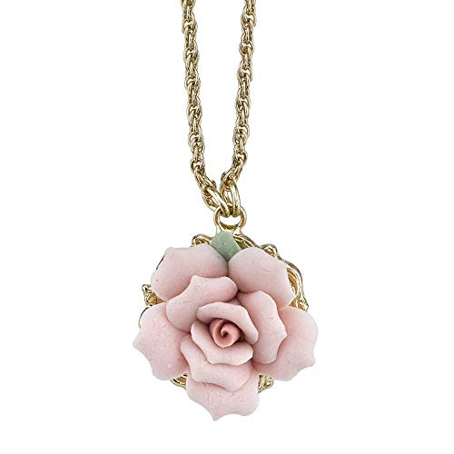 1928 Co. Gold Tone Genuine Pink Porcelain Rose Pendant Necklace 16in Adj