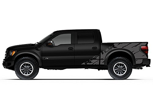 "Ford F-150 Raptor SVT 2010-2014 Crew Cab Standard Bed ""RAPTOR"" SHREDS V2 Graphics Kit 3M Vinyl Decal Wrap - Nimbus Gray"