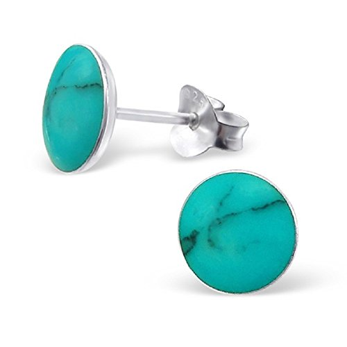 - 925 Sterling Silver Turquoise Oval Mother of Pearl Seashell Stud Earrings 11677