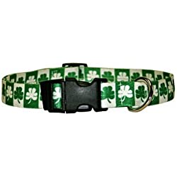 """Yellow Dog Design Shamrock Dog Collar with Tag-A-Long ID Tag System-Medium-1"""" and fits Neck 14 to 20"""""""