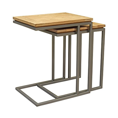 Asta Simplicity Solid Teak and Iron Nesting C-Tables, Set of 2, TI-305 (Frame Plantation Teak)