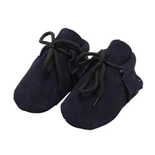 Leap Frog Lace Up Moccasins - Zapatos primeros pasos de piel vuelta para niño azul marino
