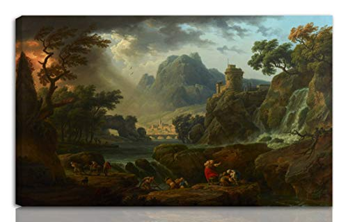 Berkin Arts Claude Joseph Vernet Stretched Giclee Print On Canvas-Famous Paintings Fine Art Poster Reproduction Wall Decor-Ready to Hang(A Mountain Landscape with an Approaching Storm)#NK