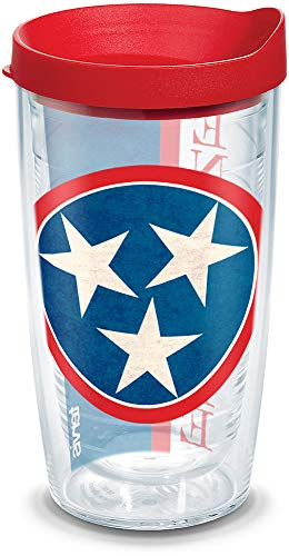 Tervis 1141731 Tennessee State Flag Colossal Insulated Tumbler with Wrap and Red Lid 16oz Clear ()