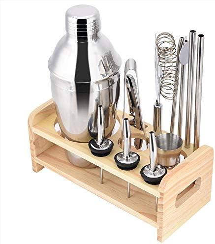 EBTOOLS Cocktailshaker, 14 Stück Edelstahl Cocktail Shaker Cocktail-Sets 550ml Cocktailset Bar-Werkzeug-Set mit Holzständer geeignet für Hauspartys Bar Party