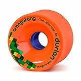 Orangatang Durian 75 mm 80a Freeride Longboard Skateboard Wheels w/Loaded Jehu V2 Bearings (Orange, Set of 4)