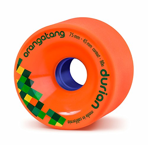 Orangatang Durian 75 mm 80a Freeride Longboard Skateboard Wheels w/Loaded Jehu V2 Bearings (Orange, Set of 4)