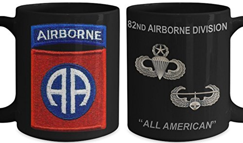 82ND AIRBORNE Military 15 oz Coffee Mug - 82 ABN Crest with Master Jump Master and Air Assault Wings - All American Ceramic Coffee Cup - America's ABN DIV!