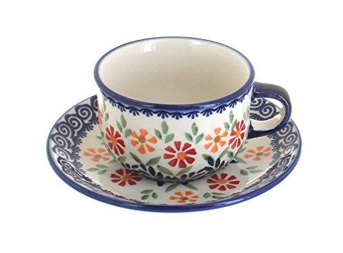 Blue Rose Polish Pottery Garden Bouquet Cup & -