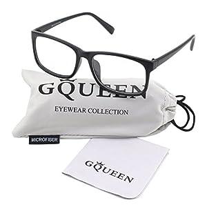 GQUEEN 201512 Casual Fashion Rectangular Frame Clear Lens Eye Glasses,Matte Black