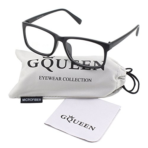 GQUEEN 201512 Casual Fashion Rectangular Frame Clear Lens Eye Glasses,Matte Black