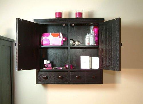 Dark Wood Large Wall Mounted Bathroom Cabinet Kudos