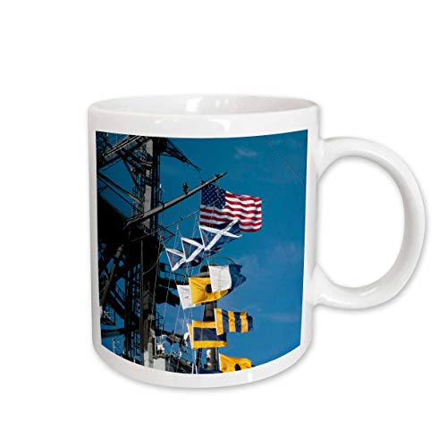 3dRose Danita Delimont - Richard Duval - Flags - USA, California, San Diego. American flag on the deck of USS Midway. - 15oz Two-Tone Black Mug (mug_191768_9)