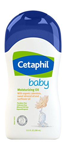 - Cetaphil Baby Moisturizing Oil with Organic Calendula, Sweet Almond Oil & Sunflower Oil, 13.5 Ounce