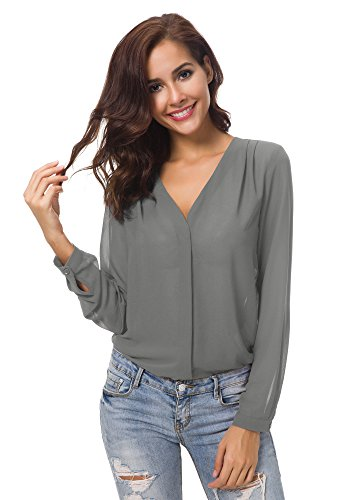Urban CoCo Womens V Neck Ruffled Shoulder Solid Chiffon Blouse (X-Large, Grey)