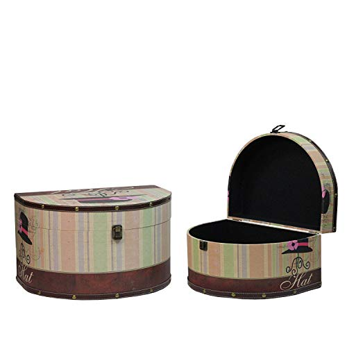 """Northlight Set of 2 Wooden Vintage-Style Hat Boxes 16.75-20"""" Decorative Storage, 16.75""""-20"""", Multicolored"""