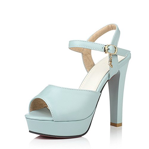 1TO9 Girls Banquet Peep-Toe High-Heels Polyurethane Pumps-Shoes Blue CbQQTH