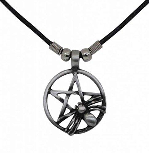 Gothic Necklace Pentagram with Spider