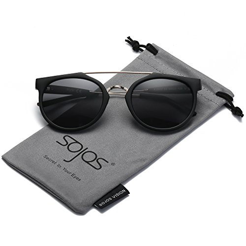 SojoS Modern Double Metal Bridge Crossbar Round Unisex Sunglasses SJ2032 With Matte Black Frame/Grey - Top Quay Sunglasses Flat