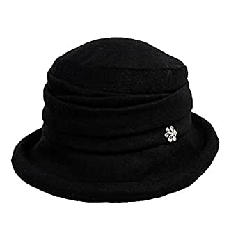 SIGGI Womens Black Vintage Wool Felt Cloche Bucket Hat ...