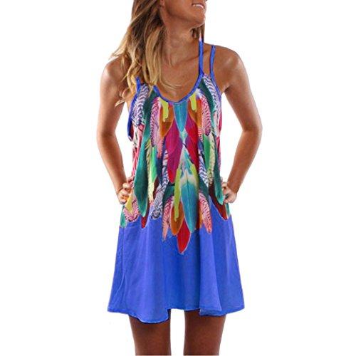 KMG Kimloog Women's Colorful Feathers Print Double Straps Halter Casual Party Beach Mini Dress (M, Blue)