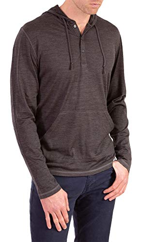 Woolly Clothing Men's Merino Wool Henley Hoodie - Everyday Weight - Wicking Breathable Anti-Odor M CHR Charcoal