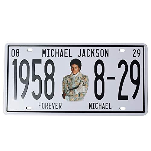 1st warehouse Michael Jackson Memorabilia Embossed License Plate, MJ Metal Stamped Vanity Number Tag