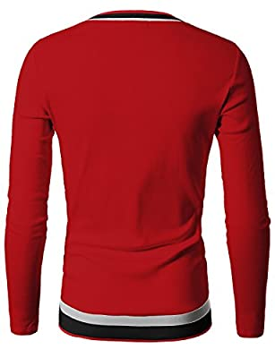 Doublju Mens V-Neck Sweater with Contrast Detail