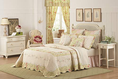 Mary Janes Farm Prairie Bloom Bedspread, Queen, Yellow/Pink (Bedding Jane Mary)