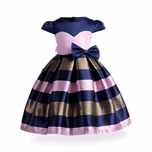 WuyiMC Dress For Girl, Knee Length Sleeveless Bow-Knot Design Wedding Fancy Party Silky Dress (Dark Blue, 3-4 Toddlers)