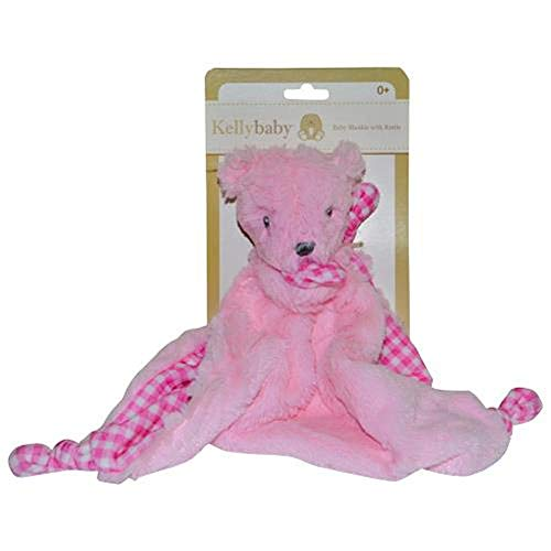Pink Bear Security Blanket with Rattle Polka Dot ()