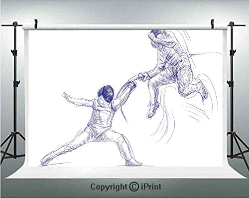 Sports Photography Backdrops Sketch of Two Sportsman for sale  Delivered anywhere in USA