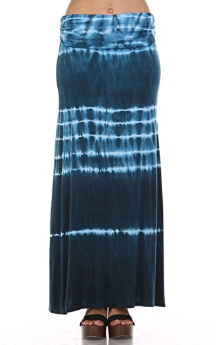Womens Blue & White Electric Striped Tie Dye Long Maxi Skirt (Matching TOP Sold Separately) (Medium) - Skirt Sold Separately