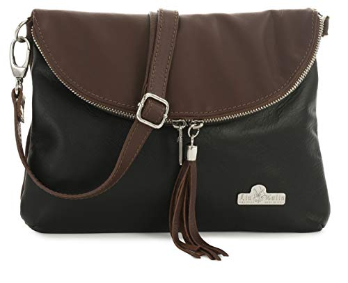 LIATALIA Real Italian Soft Leather Messenger Cross Body Shoulder Bag Small/Medium Size - AMY Black - Brown Trim