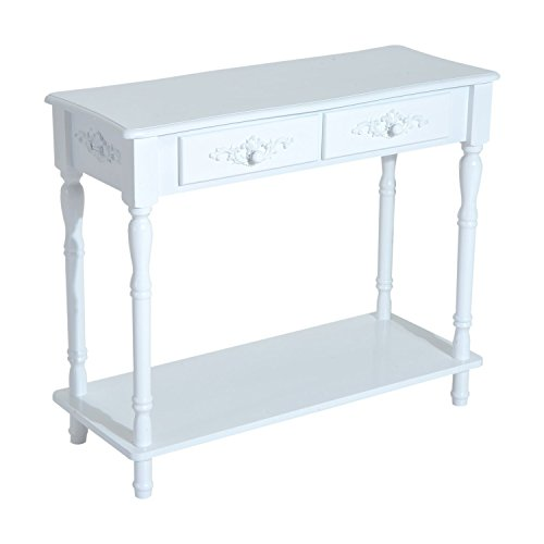 HomCom Wood 2-Drawer Traditional Entryway Console Table – White