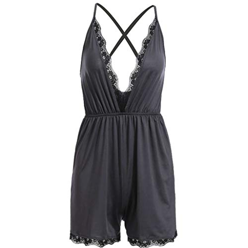 Answerl☀ Womens Strap Halter Rompers Lace Edge Cross Back Playsuit Beach Jumpsuit Deep V Neck Sexy Mini Playsuit Black