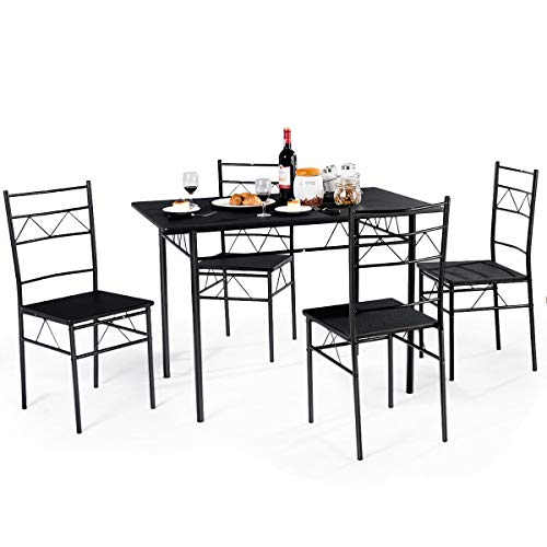 - Giantex 5 PCS Dining Table and Chairs Set, Wood Metal Dining Room Breakfast Furniture Rectangular Table with 4 Chairs, Black (Style 3)