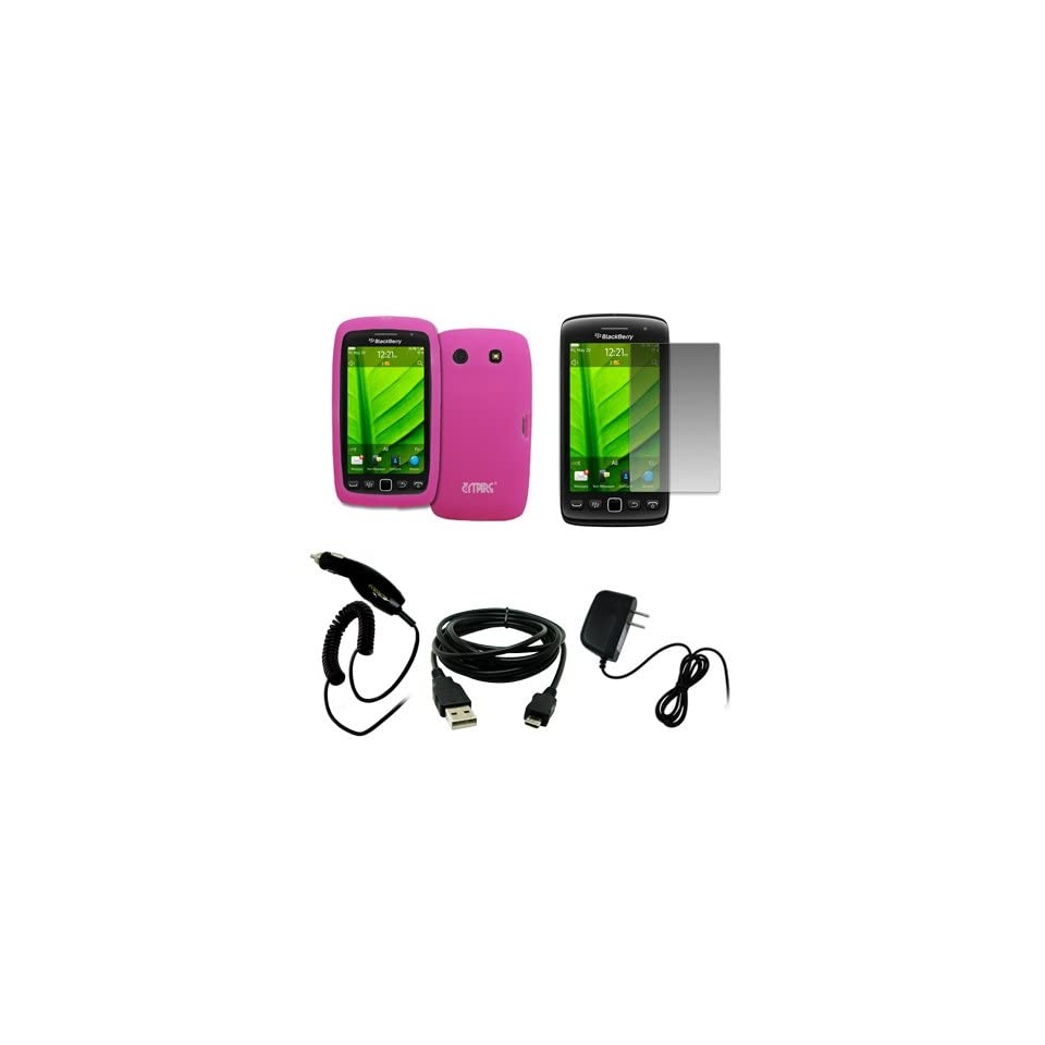 EMPIRE Hot Pink Silicone Skin Case Cover + Screen Protector + Car Charger (CLA) + Home Wall Charger + USB Data Cable for BlackBerry Torch 9860