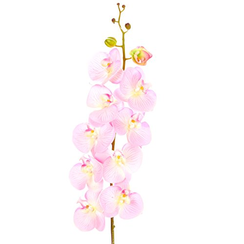 Quasimoon PaperLanternStore.com Realistic 44 Inch Long Artificial Pink Orchid Plant Flower w/Bendable Stem